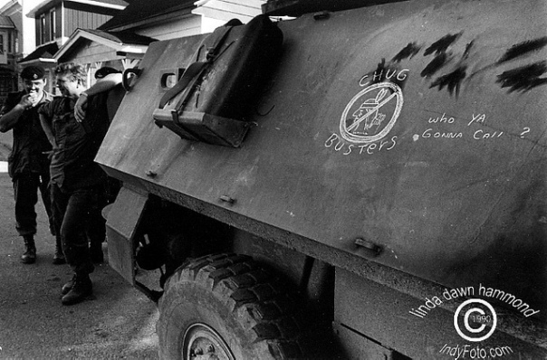 Racist graffiti on side of Canadian Forces armoured vehicle.