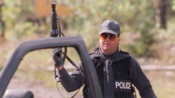 A member of an RCMP Emergency Response Team (ERT) at Gustafsen Lake, 1995.