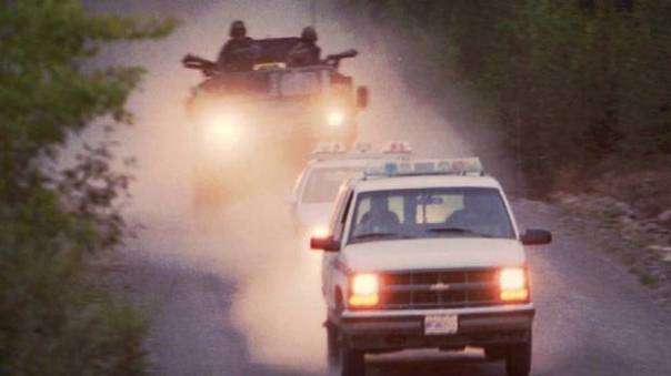 Bison APC used by RCMP at Gustafsen Lake, BC, 1995.