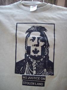 T Shirt No Justice Khaki