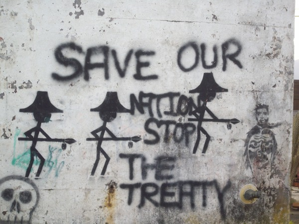 Anti-treaty graffiti in Alert Bay, 'BC'.