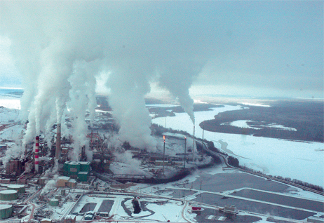 Aerial view of part of Alberta Tar Sands operations.