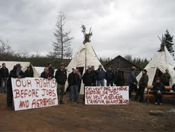 Innu blockade of mines in Sept. 2010.