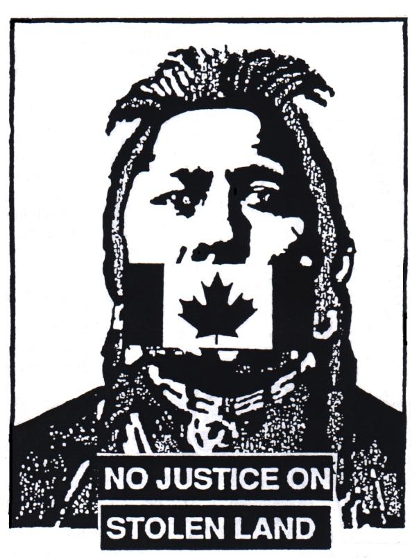 No Justice Stolen Land logo