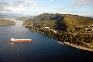 Oil tanker prepares to fill up with Alberta Tar Sands oil at Burrard Inlet refinery.
