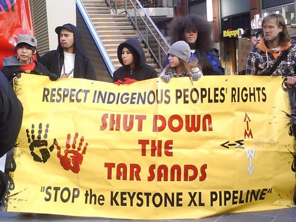 Members of American Indian Movement (AIM) in Colorado protest Keystone XL pipeline and tar sands.