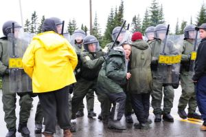 The scene on Oct. 16, 2012, as Quebec police move to dismantle blockade. .