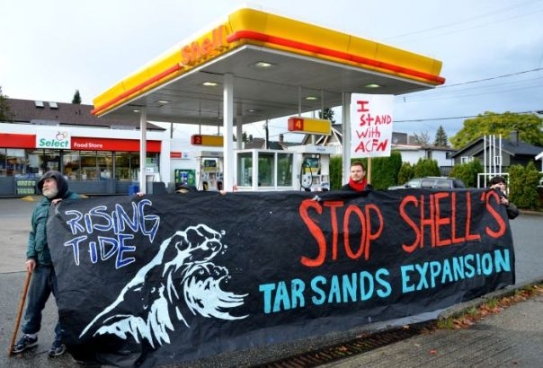 Shell station blocked by protesters at 12th & Clark in East Vancouver, Oct. 23, 2012.