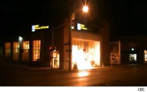 RBC branch in Ottawa engulfed in flames.