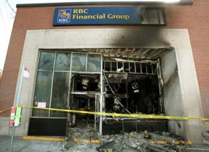 Aftermath of arson attack on RBC branch in Ottawa, May 2010.