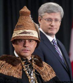 """Grand Chief"" Shawn Atleo of the AFN with PM Harper during Crown-First Nations Summit, Jan. 2012."