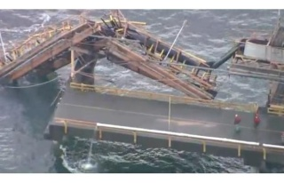 Damage from coal ship at Roberts Bank coal terminal after crash, Dec. 7, 2012.