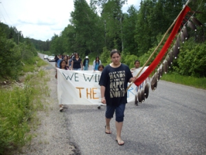 Youth from Grassy Narrows on healing walk, 2008.