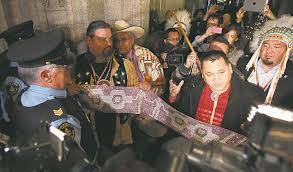 Dec. 4, 2012, AFN chiefs make a symbolic effort to enter House of Commons in Ottawa; chief Nepinak can be seen second from front.