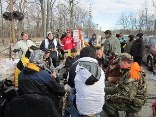 Drum group at Sarnia CN rail blockade, Dec 23.