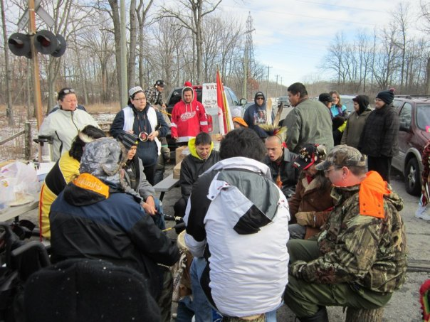 Drum group at Sarnia CN rail blockade, Dec 23.