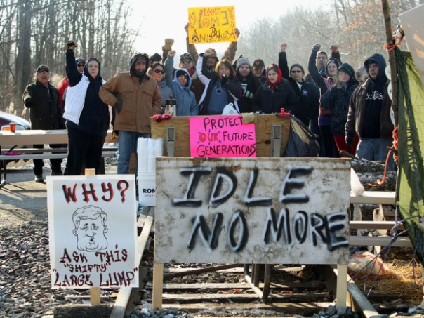 Blockade of CN rail line near Sarnia, Ontario.
