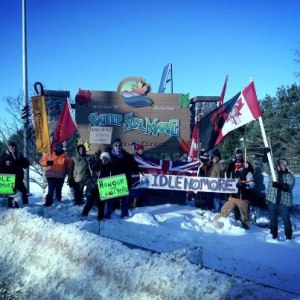 Idle No More rally on Dec 27 in Sault Ste. Marie, where train tracks and highway were temporarily blockaded.