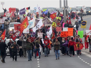Protesters march on Highway 401 near London, Ont, Dec 19.