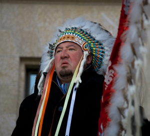 """""""Grand Chief"""" Derek Nepinak of the Assembly of Manitoba Chiefs, Idle No More Rally in Winnipeg, Dec. 10, 2012."""