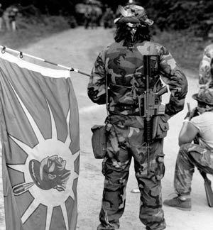 Warrior with warrior flag, Oka 1990.