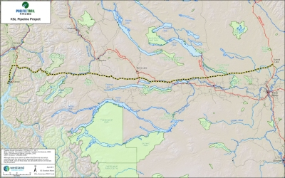 Proposed route of Pacific Trails Pipeline.