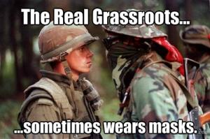 Meme using iconic photo from 1990 Oka Crisis.