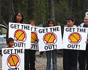 Tahltan members protest Shell, 2007.