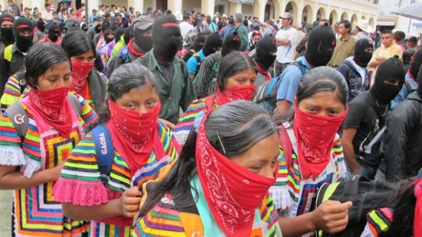 Zapatistas march on Dec 21, 2012, in Chiapas.