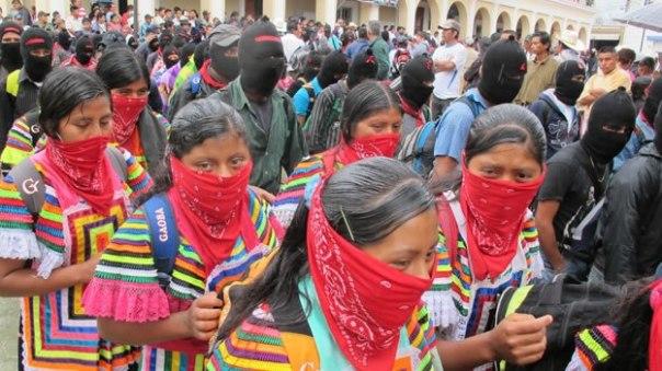 Zapatistas march on Dec 21, 2012, in Chiapas.
