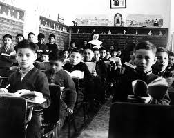 Residential school class at Cross Lake, Manitoba, in 1951.