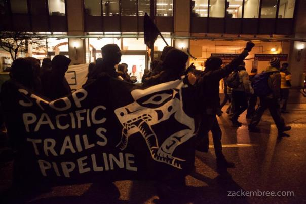 Militants carry banner against Pacific Trails Pipeline during anti-Enbridge rally, Jan 14, 2013.