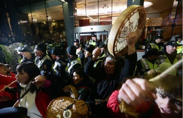 Many Natives, some of whom have been participating in Idle No More rallies, attended the anti-Enbridge protest.