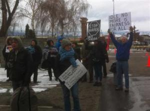 Some of the protesters in Kelowna on Jan 28, 2013.