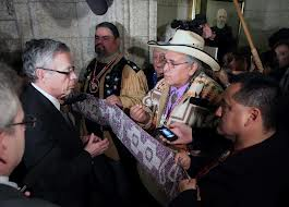 Onion Lake Cree Nation Chief Wallace Fox, in cowboy hat, with other chiefs as they attempt to enter House of Commons on Dec 4, 2012.