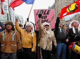 Indian Act chiefs lead one of numerous INM rallies.
