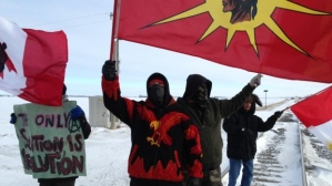 Train blockade in Portage le Prairie, Manitboa, on Jan 16, 2013.