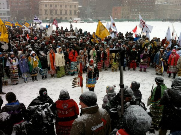 Women jingle dress at INM rally in Ottawa, Jan 28, 2013.