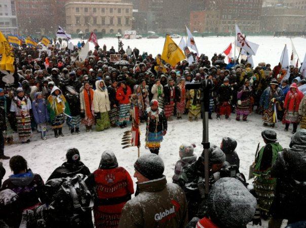 Women jingle dress at INM rally in Ottawa, Jan 28, 2013.