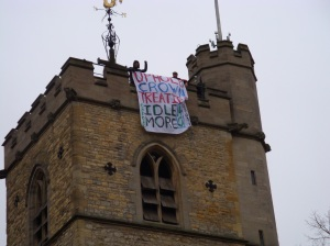 Banner drop in Oxford, England, Jan 28, 2013.