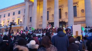 INM rally at the Manitoba Legislature in Winnipeg, Jan 28, 2013.