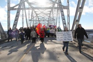 Mohawks of Akwesasne march on Jan 5, 2013.