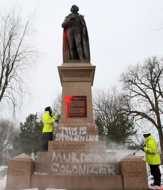 Statue of Sir John A. MacDonald vandalized, Jan 10, 2013.