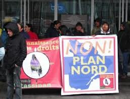 Blockade of Plan Nord exhibition in Montreal, April 2012.