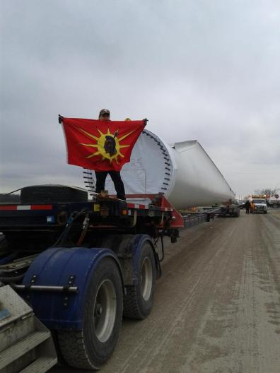 Stopping a truck transporting wind turbine pieces, Jan 17, 2013.