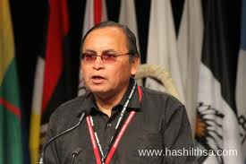 Terrance Nelson during his speech seeking election as national chief of AFN, June 2012.