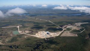 Aerial view of De Beers Canada Victor diamond mine, 90 km from the Attawapiskat reserve in northern Ontario.
