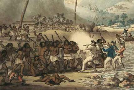 Captain Cook's death as painted by John Clevely.