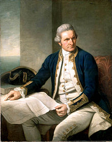 A portrait of Captain Cook, planning his next recon mission for British imperialism.
