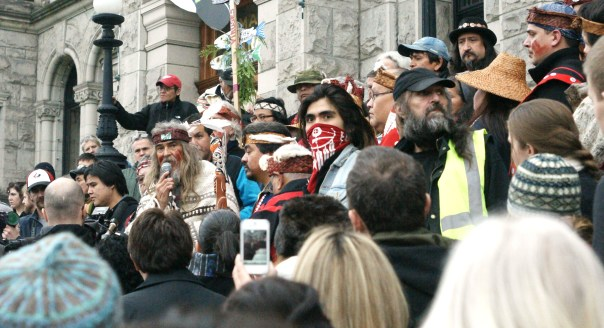 Rallying on the steps of the legislature in Victoria, Feb 10, 2013.